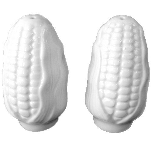 This salt and pepper shaker set is shaped like 2 ears of corn. Done in a white glazed ceramic this salt and pepper set will accommodate most any kitchen decor.
