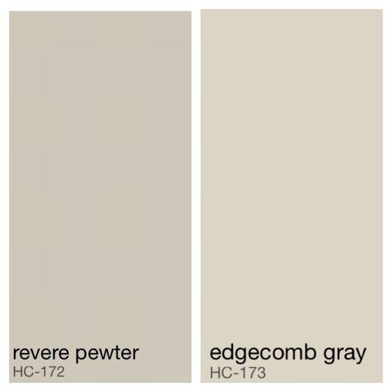 Benjamin Moore MasterBath color - Revere Pewter walls, Edgecomb Gray ceiling