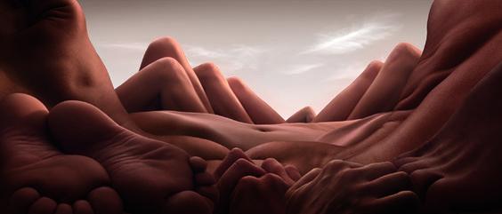 Artista cria paisagens incríveis usando corpos nus - Fernando Moreira: O Globo
