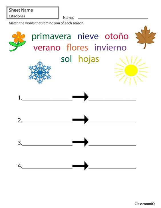 Seasonal Words In Spanish Spanishworksheets Classroomiq