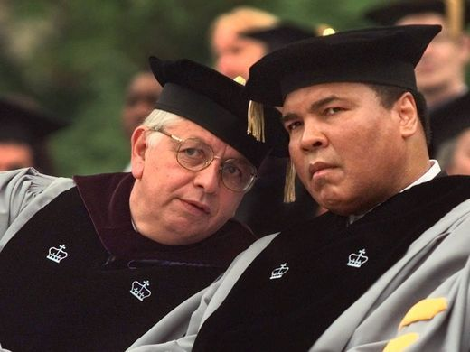 NBA commissioner David Stern, left, talks with at commencement exercises for Columbia University in New York where Ali was one of several people to receive an honorary degree in 1999.