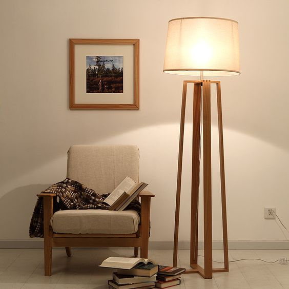 Simple modern American creative wood floor lamp wood tripod lamp Wood lamp four fabric lamp living room bedroom lights-in Floor Lamps from Lights & Lighting on Aliexpress.com | Alibaba Group