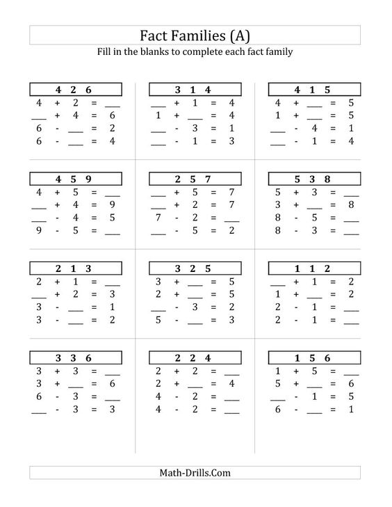 math worksheet : addition and subtraction fact families and math worksheets on  : Fact Families Addition And Subtraction Worksheets