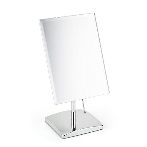 Non Magnifying Vanity Makeup Mirror Adjustable Rectangular Tabletop Mirror Portable Polished Chrome Finished For Bed Makeup Mirror Bedroom Mirror Chrome Finish