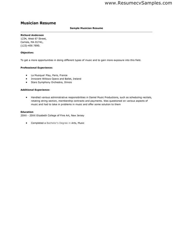 Musician Resume Example Sample Resume Letters Job Application