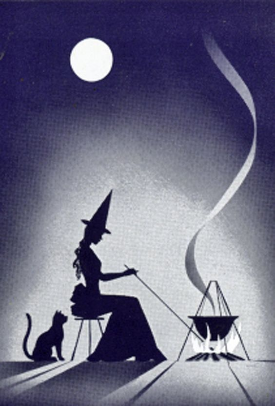 #Halloween THREE Antique Fortune Telling Witch w/cat & cauldron silhouette cards #ThoseBroadsFromEtsy