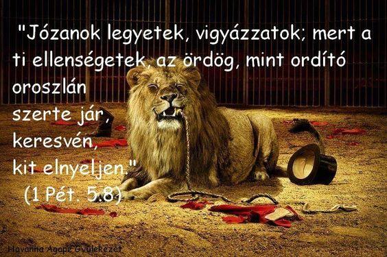 """""""Legyetek józanok, vigyázzatok, mert ellenségetek, az ördög mint ordító oroszlán jár szerte, keresve, kit nyeljen el: álljatok ellene a hitben szilárdan..."""" (1Pt 5,8-9)"""