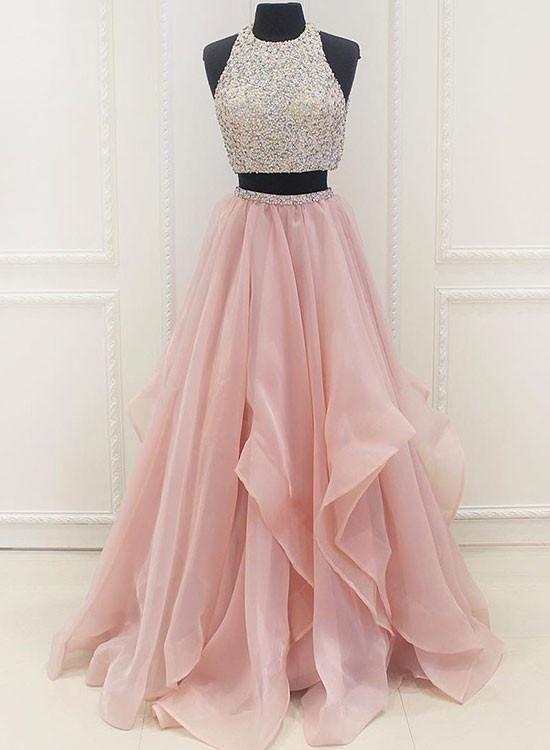 11++ Pink 2 piece prom dress ideas