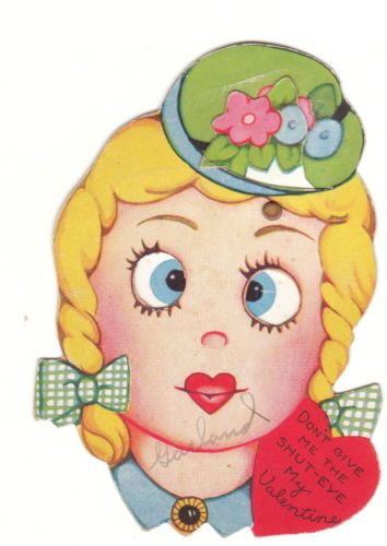 Mechanical vintage Valentine - girl with eyes that move
