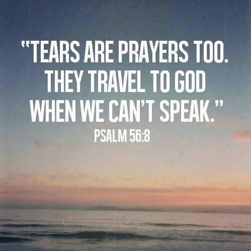 Tears are prayers too.  They travel to God when we can't speak.  ~ Psalm 56:8