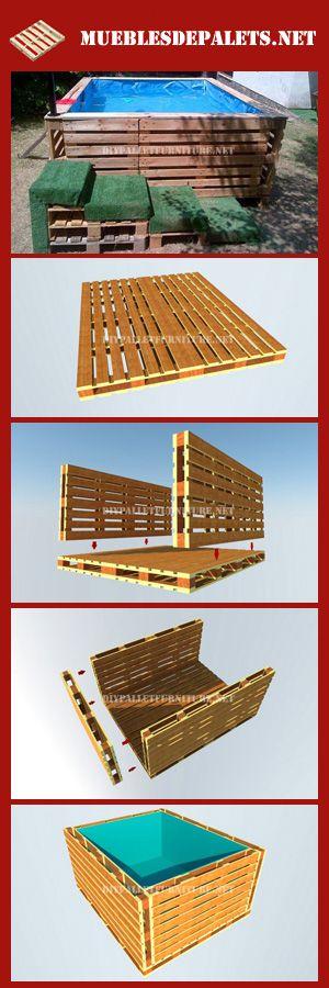 Muebles de palets Planos para construir una piscina con palets