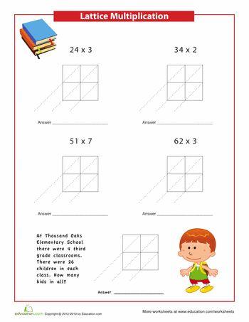 Common Worksheets multiplication ladder worksheets : Easy Lattice Multiplication Problems | Lattices, Multiplication ...