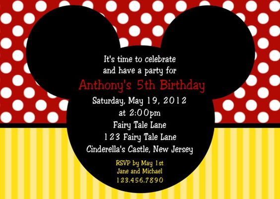 Mickey Mouse Ears Invitation - Personalized Custom Mickey Mouse Birthday Invitation - Print Your Own