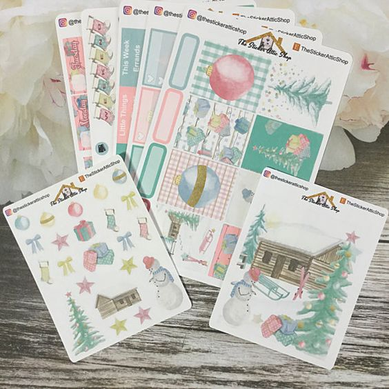 Christmas Planner Stickers  / Pastel by TheStickerAtticShop