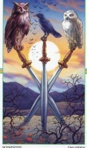 Wheel of the Year Three of Swords Tarot Card