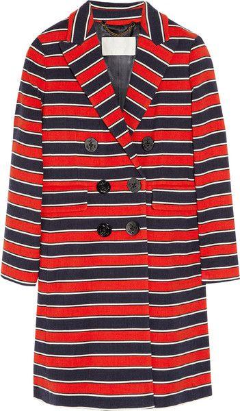 J CREW   Gondola Striped Stretchwool Coat