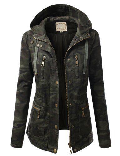 J.TOMSON Womens Trendy Military Cotton Drawstring Jacket XLARGE