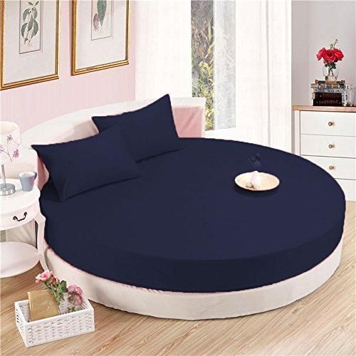 Comfy Round Sheet Set Solid 84 Inch Diameter Navy Blue With