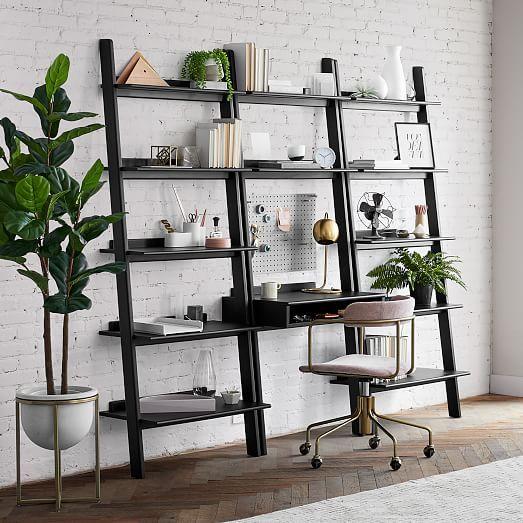 Modern Leaning Wall Desk In 2020 Wide Bookshelf Wall Desk Wide Bookcase