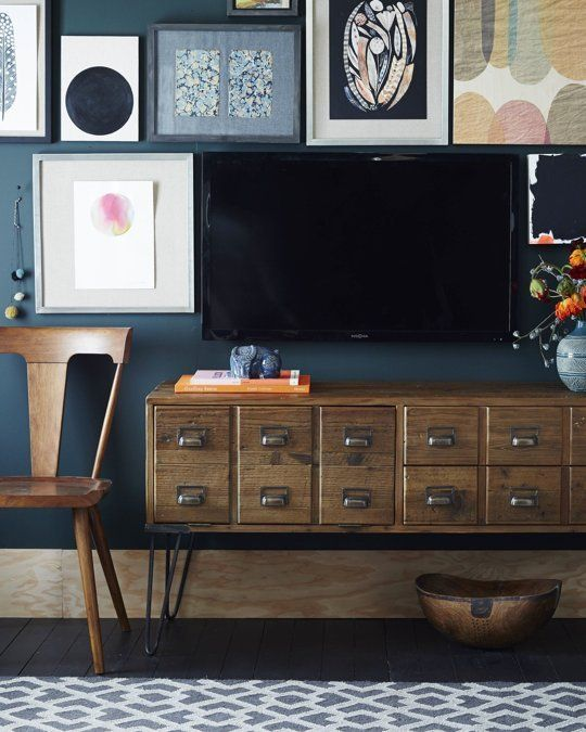 Just In: West Elm's New Fall Collection (including a Mini Smeg Fridge!) — Design News: Blue Wall, Tv Room, Fall Collections, Apartment Therapy, Living Room, Elm Fall, Card Catalog, Gallery Wall, Dark Wall
