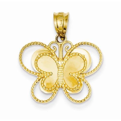 14k Yellow Gold Mirror Butterfly Pendant