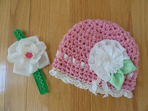 pink crochet toddler hat with handmade fabric flower, $12.50