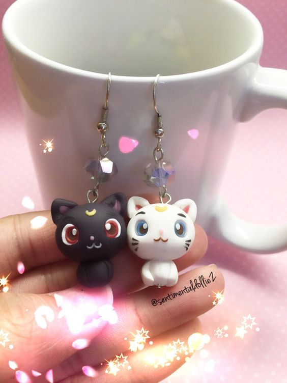 Sailor Moon Jewelry, Sailor Moon Earrings, Luna and Artemis Earrings, Kawaii Polymer Clay Jewelry, Kitty Cat Earrings