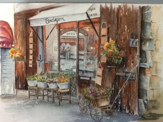 Watercolor de M. Cafrruny  Inspirado em foto do Pinterest