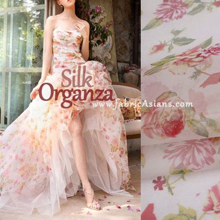 Rose silk organza pink floral sheer fabric black red for Silk organza wedding dress