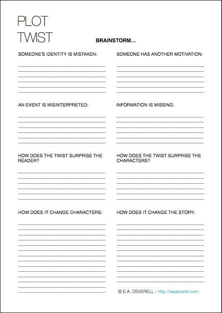 Writing Worksheet Wednesday: Plot Twists | e.a. deverell: creative ...