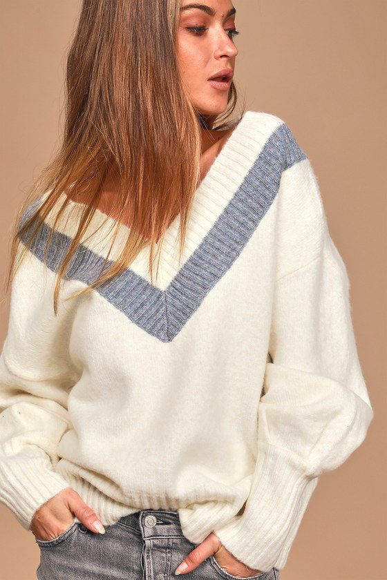 Cozy Talks Cream V-Neck Long Sleeve Sweater