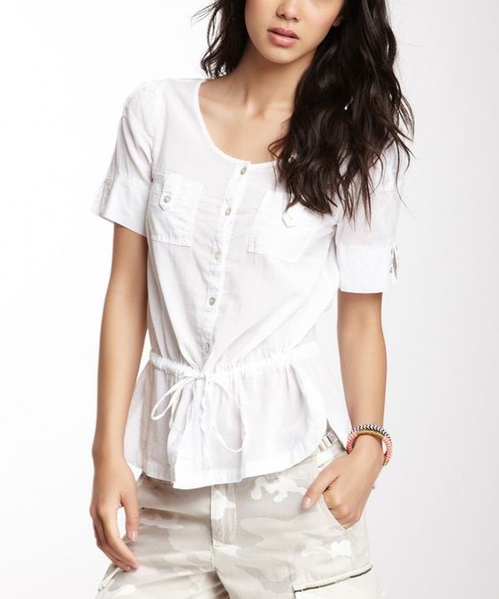 Look at this White Button-Up Top on #zulily today!