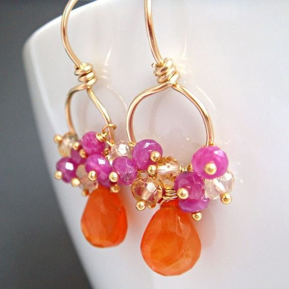 Gemstone Gold Earrings Tangerine Carnelian Pink by aubepine