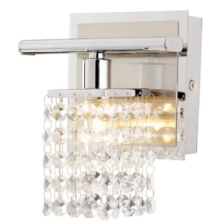 Sparkle Chrome 6 Wide Crystal Bathroom Light Fixture Chrome Finish With A Satin Back