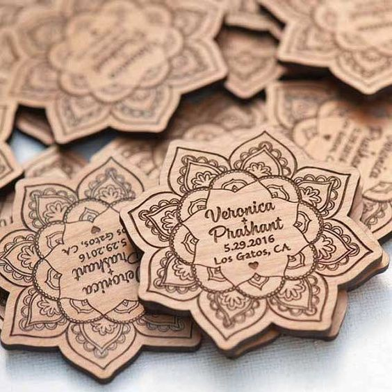 laser engraver templates - 10 lotus save the date magnets laser cut and etched on