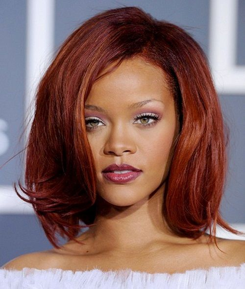 Incredible Burgundy Red Hair Rihanna And Auburn Colors On Pinterest Hairstyles For Women Draintrainus