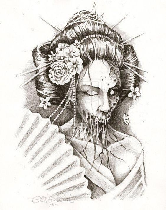 ZOMBIE GEISHA by DEMONGRAFIX666.deviantart.com Angry Black Wolf Drawing