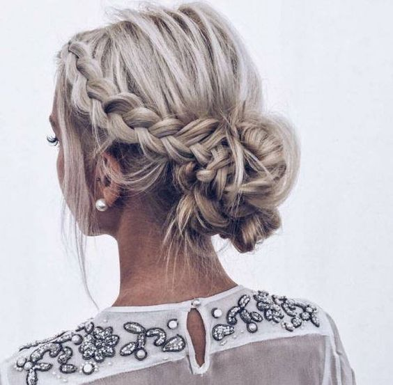 33 Gorgeous Updo Braided Hairstyles For Any Occasion Prom Hoco Hair Wedding Updo Hairstyles Short Hair Updo Braided Hairstyles Updo Medium Length Hair Styles