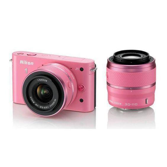 "Câmera Digital Nikon J1-W, 10.1MP Rosa, LCD 3.0"", Vídeo em Full HD, Detector de Face e PictBridge + Lente 10-30mm VR, Bateria Recarregável"