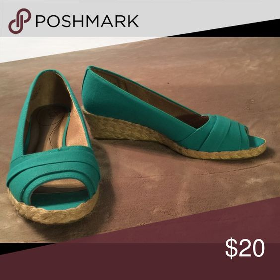Turquoise wedged Never worn turquoise wedges with jute heel Shoes Espadrilles