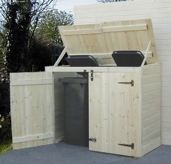 Double wheelie bin store...much better than the eye sore that garbage/recycle bins can be!