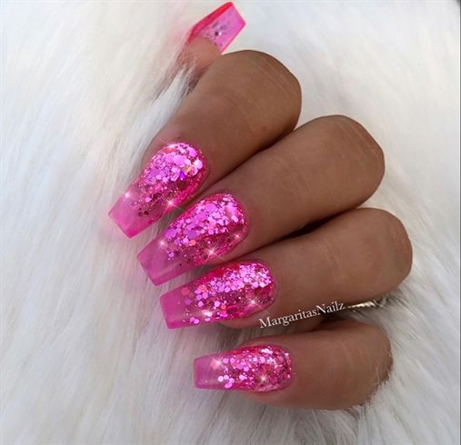 Clear Pink Jelly Glitter Ombre Nails By Margaritasnailz Pink