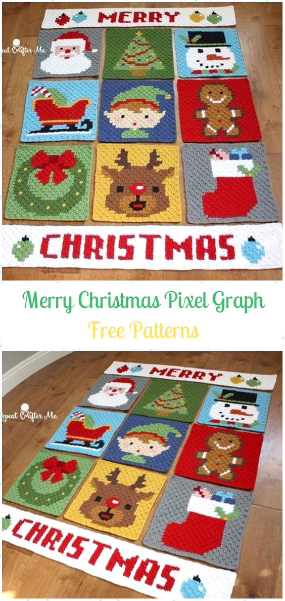 Crochet Merry Christmas Pixel Graph Blanket Free Pattern - Crochet Christmas Blanket Free Patterns