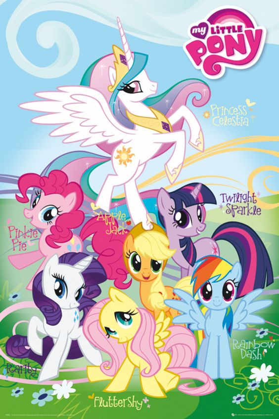 my little pony names official poster official merchandise size 61cm x free shipping. Black Bedroom Furniture Sets. Home Design Ideas