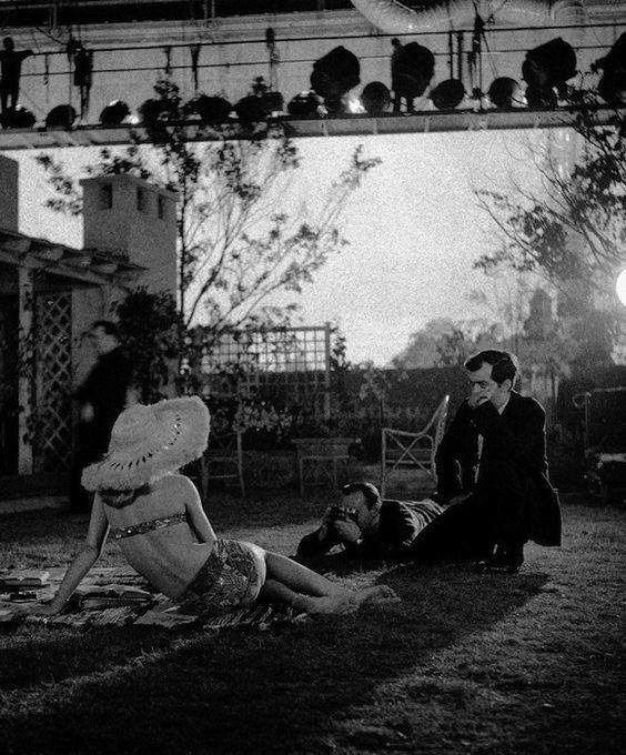 "Stanley Kubrick on the set of ""Lolita"" (1962)."