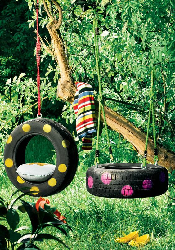 A tyre swing in the backyard is a great motivator for children to spend more time in the yard. Plus it's a fun way to recycle and won't contribute anything to your energy bill.: