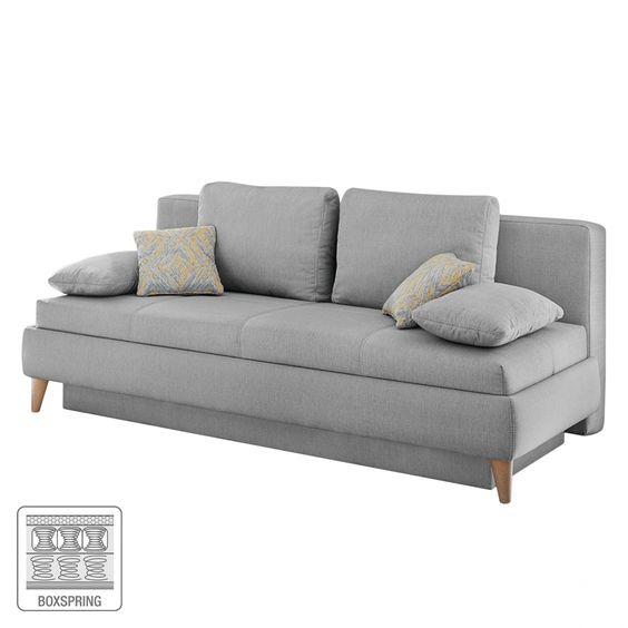Schlafsofa Limba (2-Sitzer) - Webstoff - Hellgrau