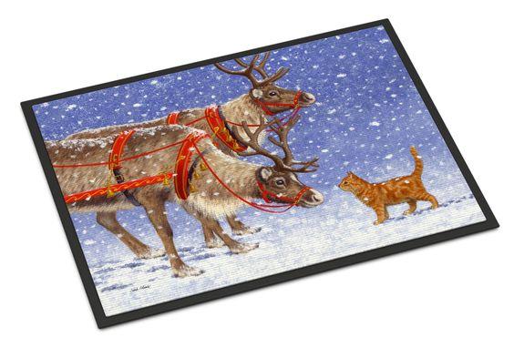 Reindeer & Cat Indoor or Outdoor Mat 18x27 ASA2174MAT