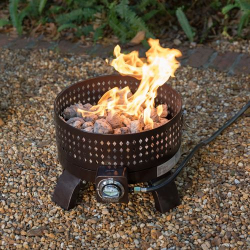 15 Inch Portable Propane Steel Fire Pit Bowl With Lid 60000 Btu