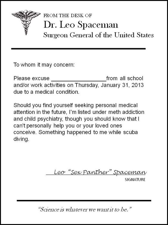 Doctoru0027s note from Dr Spaceman #30rock LOL Pinterest 30 - what is a doctors note